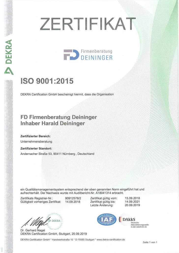 Qualitätsmanagement – System nach DIN ISO Norm 9001:2015